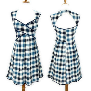 Esley Sleeveless Fit & Flare Dress S Blue Plaid
